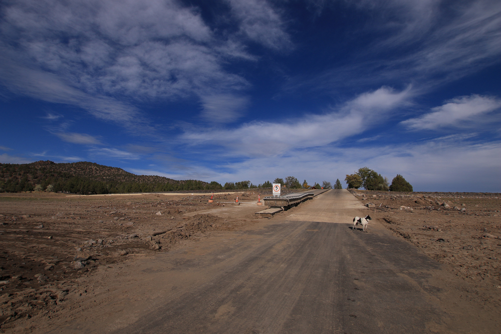 Prineville Reservoir boat launch, closed due to extreme low water.