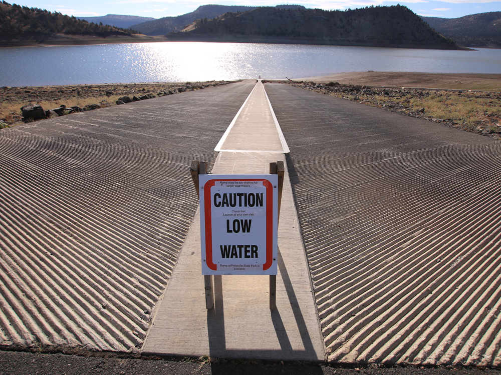 Prineville Reservoir main boat launch closed due to low water.